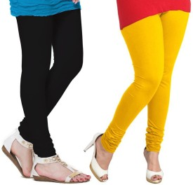 VP Vill Parko Women's Yellow, Black Leggings Pack Of 2