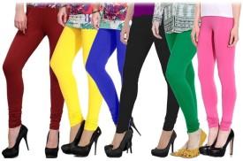YouthStuff Women's Red, Black, Yellow, Blue, Pink, Green Leggings Pack Of 6
