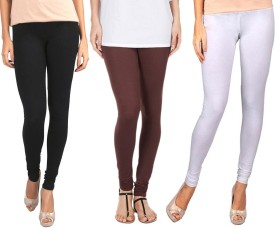 Sampoorna Collection Women's Black, Brown, White Leggings Pack Of 3