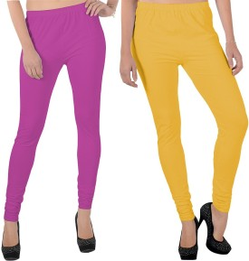 X-Cross Women's Pink, Yellow Leggings Pack Of 2