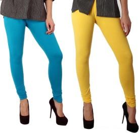 Sparkle Women's Blue, Yellow Leggings Pack Of 2