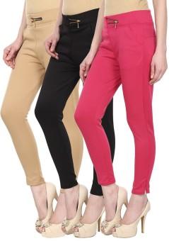 SYS Women's Beige, Black, Pink Treggings Pack Of 3