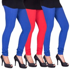 C&S Shopping Gallery Women's Blue, Red, Green Leggings Pack Of 3
