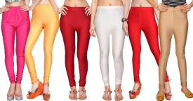 Comix Women's Pink, Orange, Red, White, Red, Beige Leggings Pack Of 6
