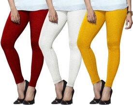 Lux Lyra Women's Red, White, Yellow Leggings Pack Of 3