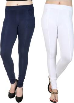 Nimya Women's Blue, White Jeggings Pack Of 2