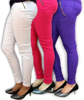 Civilized Showdown Women's White, Pink, Purple Jeggings Pack Of 3