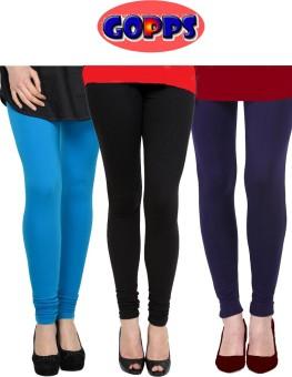 Gopps Women's Blue, Black, Blue Leggings Pack Of 3
