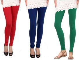 Raro Women's Red, Blue, Green Leggings Pack Of 3