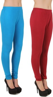 Stylishbae Women's Blue, Maroon Leggings Pack Of 2