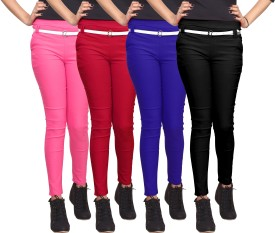 Xarans Women's Pink, Red, Blue, Black Jeggings Pack Of 4