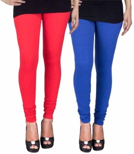 Fashion Flow+ Women's Red, Blue Leggings Pack Of 2