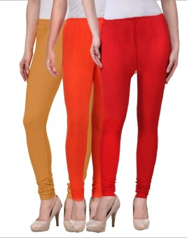 Desi Duos Women's Brown, Orange, Red Leggings Pack Of 3