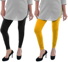 D-Nimes Women's Yellow, Black Leggings Pack Of 2