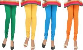 Agrima Fashion Women's Green, Yellow, Light Blue, Orange Leggings Pack Of 4