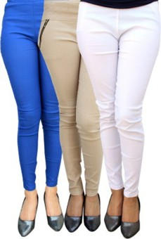 Roma Creation Women's Blue, Beige, White Jeggings Pack Of 3