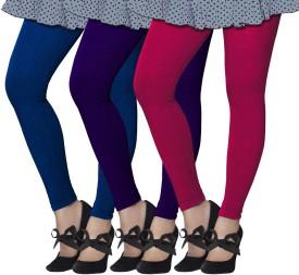 Lux Lyra Girl's Blue, Dark Blue, Pink Leggings Pack Of 3
