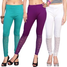 Comix Women's Light Green, Purple, White Leggings Pack Of 3
