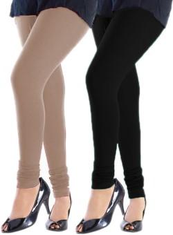 Trusha Dresses Women's Beige, Black Leggings Pack Of 2
