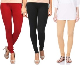 Sampoorna Collection Women's Black, Red, Beige Leggings Pack Of 3