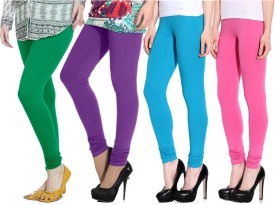 Ngt Women's Green, Purple, Light Blue, Pink Leggings Pack Of 4