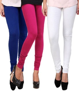 CP Bigbasket Women's Blue, Pink, White Leggings Pack Of 3