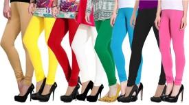 Ngt Women's Beige, Yellow, Red, White, Green, Light Blue, Black, Pink Leggings Pack Of 8