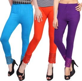 Comix Women's Light Blue, Orange, Purple Leggings Pack Of 3