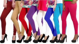 NGT Women's Maroon, Beige, Red, Purple, White, Blue, Light Blue, Pink Leggings Pack Of 8