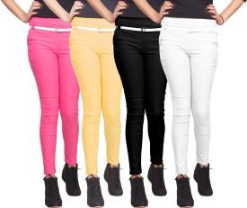 Xarans Women's Pink, Beige, Black, White Jeggings Pack Of 4