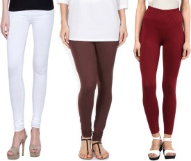 Sampoorna Collection Women's White, Brown, Maroon Leggings Pack Of 3