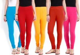 Ten On Ten Women's Blue, Orange, Red, Pink, Yellow Leggings Pack Of 5