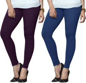 Lux Lyra Women's Purple, Light Blue Leggings Pack Of 2