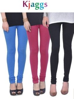 Kjaggs Women's Light Blue, Pink, Black Leggings Pack Of 3