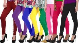 NGT Women's Maroon, Purple, Blue, Yellow, Green, Pink, Pink, Black Leggings Pack Of 8