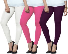 Lux Lyra Women's White, Pink, Purple Leggings Pack Of 3