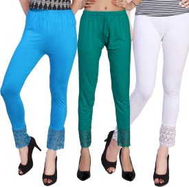 Comix Women's Light Blue, Green, White Leggings Pack Of 3
