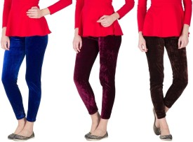 Stylobby Women's Blue, Pink, Brown Leggings Pack Of 3