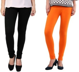 StudioRavel Women's Black, Orange Leggings Pack Of 2