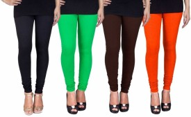 C&s Shopping Gallery Women's Black, Green, Brown, Orange Leggings Pack Of 4