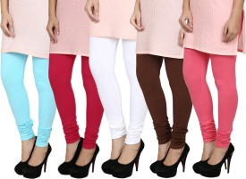 Fizzaro Women's Red, Blue, White, Brown, Pink Leggings Pack Of 5