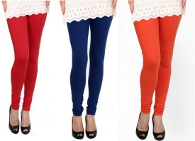 Raro Women's Red, Blue, Orange Leggings Pack Of 3