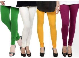 Fashion Zilla Women's Green, White, Yellow, Pink Leggings Pack Of 4