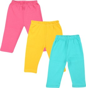 Color Fly Baby Girl's Pink, Green, Yellow Leggings Pack Of 3