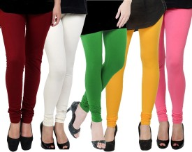 Kjaggs Women's White, Green, Yellow, Maroon, Pink Leggings Pack Of 5
