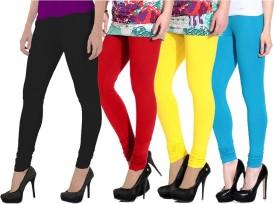 NGT Women's Red, Black, Light Blue, Yellow Leggings Pack Of 4