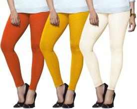 Lux Lyra Women's Orange, Yellow, Beige Leggings Pack Of 3