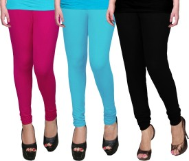 WCTrends Women's Pink, Blue, Black Leggings Pack Of 3