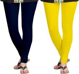 Aannie Women's Dark Blue, Yellow Leggings Pack Of 2