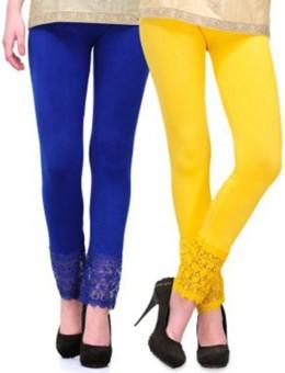 Roma Creation Women's Blue, Yellow Leggings Pack Of 2